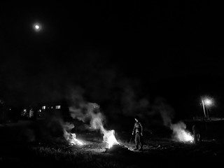 Grass Burning on an Ash Full Moon BW-