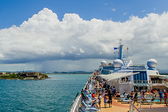 Approaching del Morro and entering San Juan Bay with storm on the horizon. View from Celebrity's Silhouette.