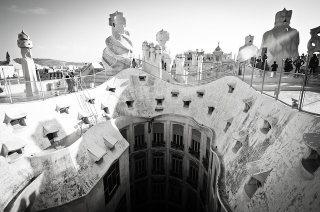 Gaudi's fantastical roof at Casa Milà in Barcelona.