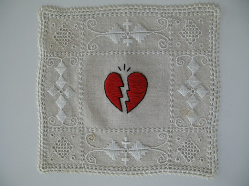 Broken Heart on vintage linen