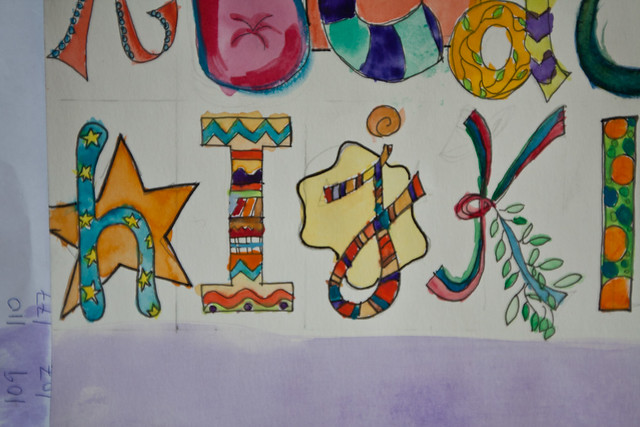 30 Days in My Art Journal: My Own Alphas Detail (H-I)