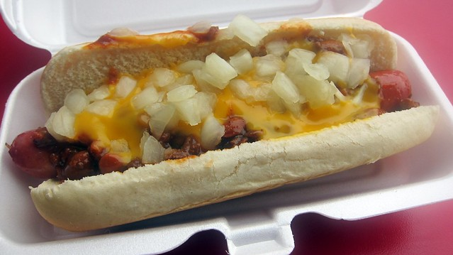 chili cheese dog at papaya king