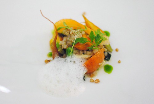 carrot, sprouting broccoli, yuba, puffed buckwheat, coconut milk, thai spices
