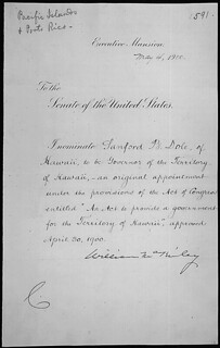 Message of President William McKinley nominating Sanford B. Dole to be Governor of Hawaii, 04/04/1900