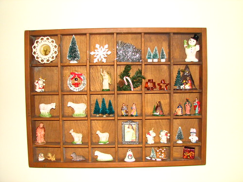 thrifted display box and thrifted Christmas items