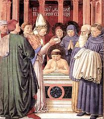 Benozzo Gozzolli (1464), Bautismo de San Agustín