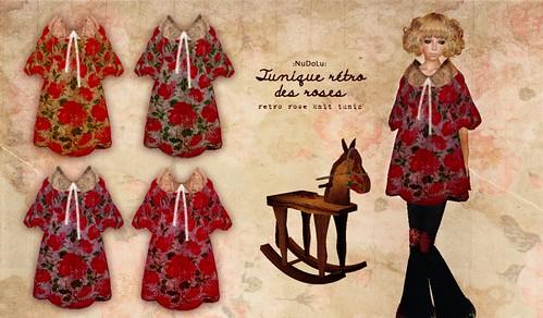 NuDoLu Tunique retro des roses AD