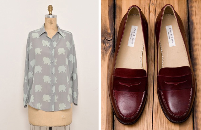 charlotte taylor blouse, rag and bone loafers