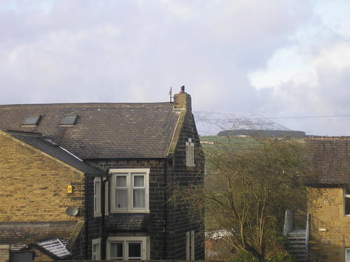 Snow-covered Pendle Hill