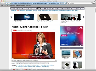 """Naomi Klein """"addicted to risk"""" on Huffington Post with Protei"""