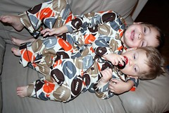 Avi and Ezra in Matching PJs