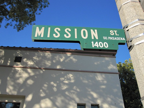 Mission Street sign in front of South Pasadena City Hall