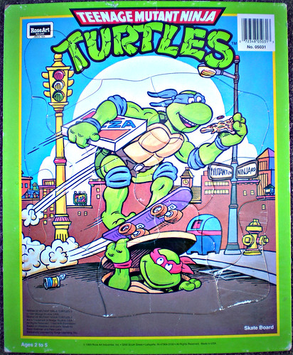 "ROSE ART :: 'TEENAGE MUTANT NINJA TURTLES' - ""Skate Board"" FRAME-TRAY Puzzle i (( 1993 ))"
