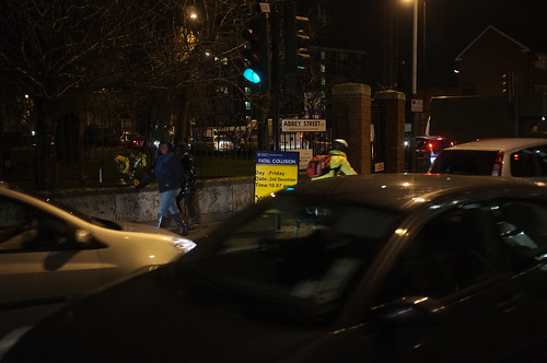 Fatal collision sign on Abbey Street junction with Tower Bridge Road