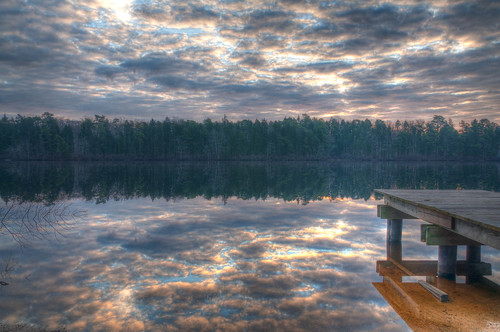 lake reflection water clouds sunrise hrd