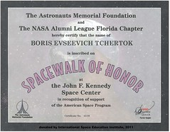 Certifikate BVoris Chertok, Kennedy Space Center