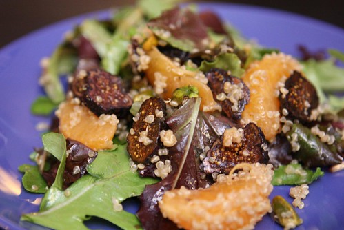 Satsuma Salad with Figs, Pistachios, and Quinoa