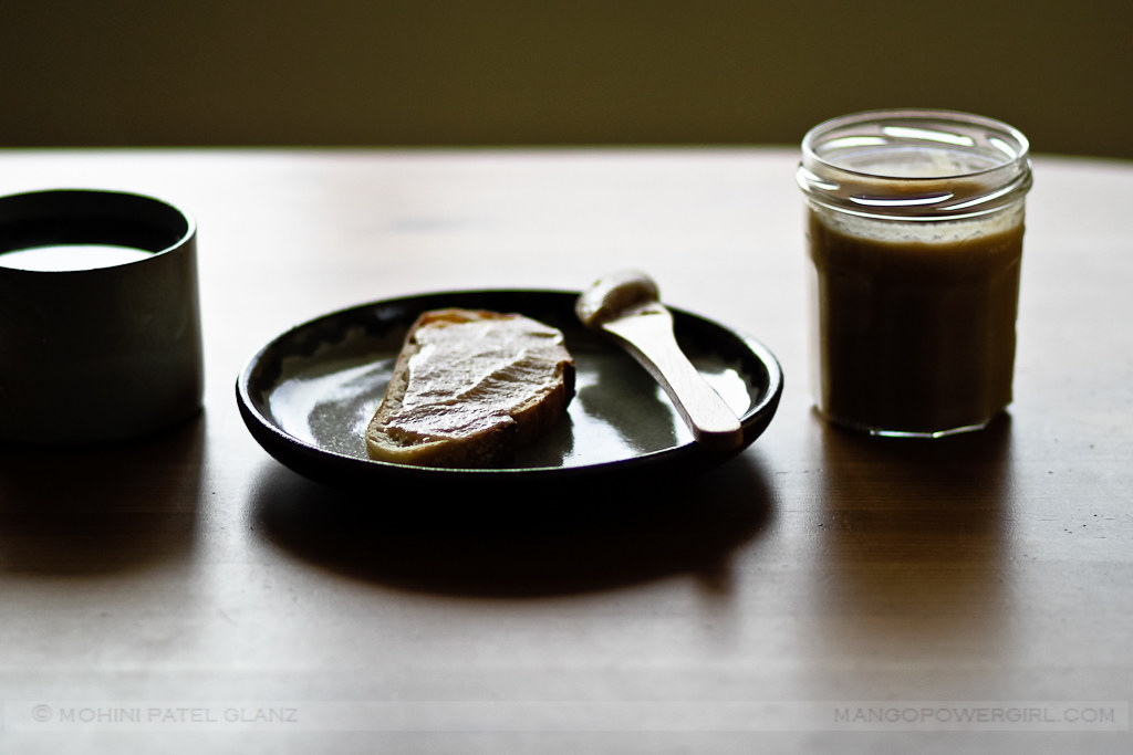 Apple Butter on Toast in moody light