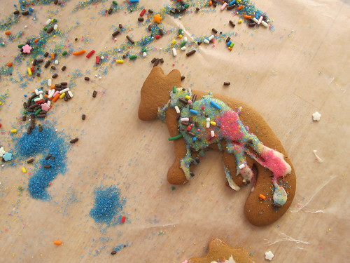 kid-decorated gingerbread fox