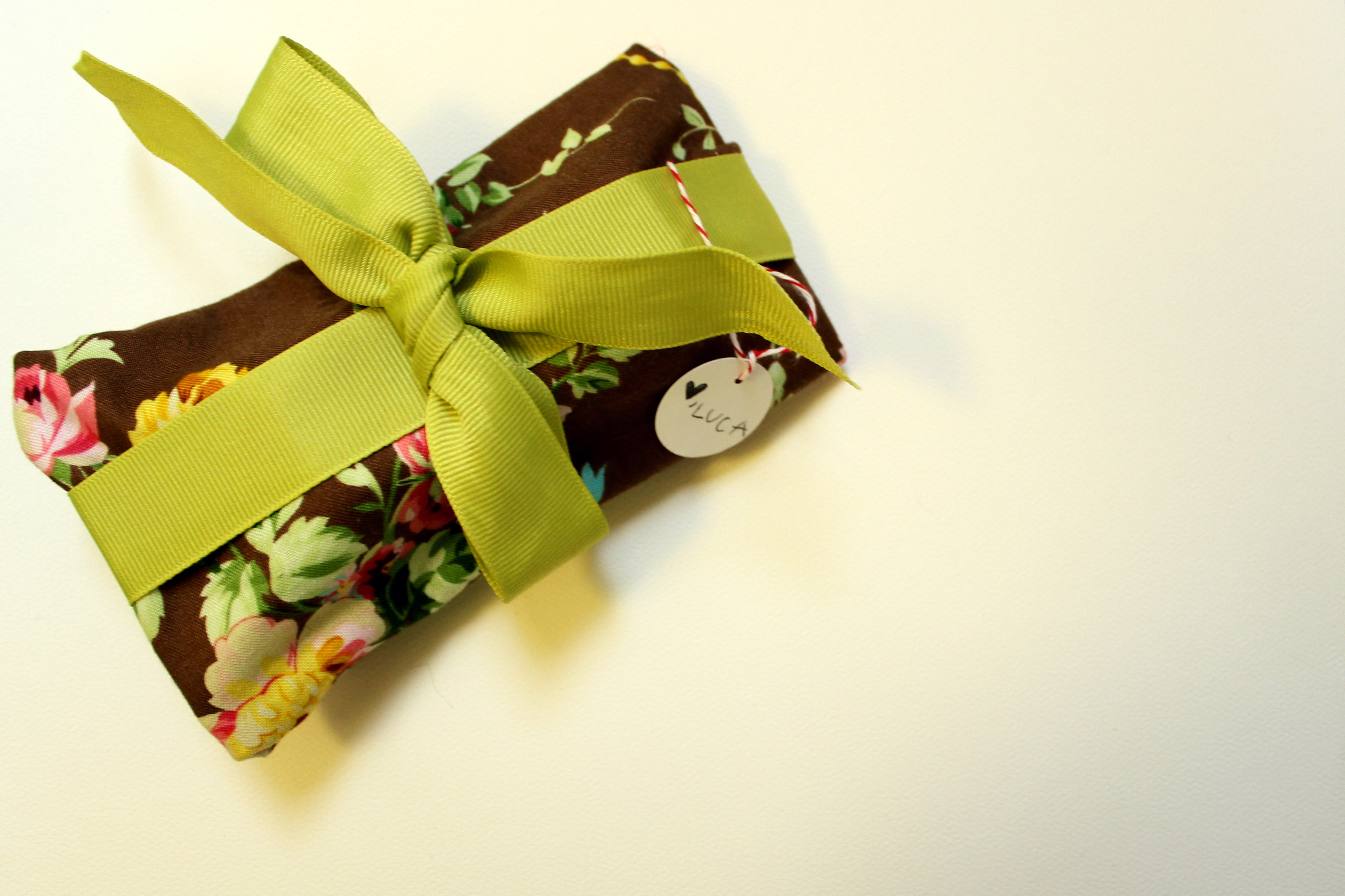 fabric wrapping (for his sister)