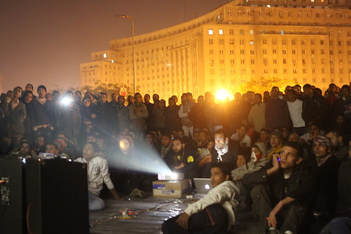 Tahrir Cinema occupied space outdoor screening in tahrir square