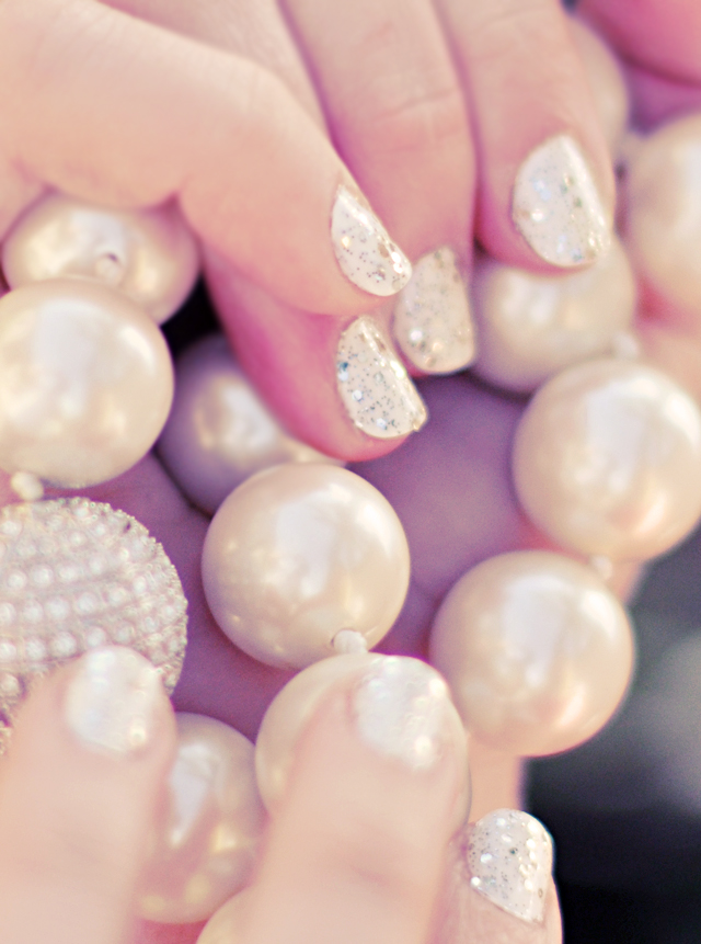 diamonds and pearls- glitter nails