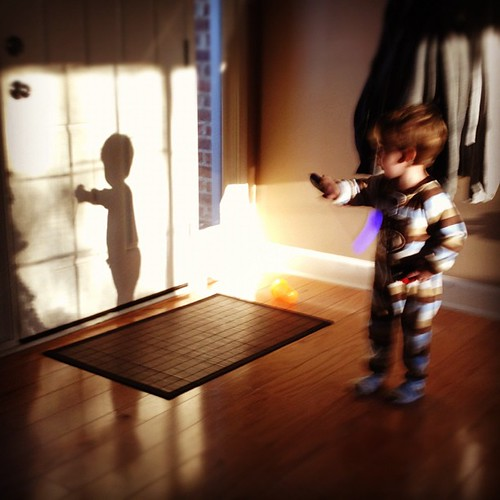 Saturday morning shadow play. I love 2 year olds!