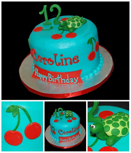 Cherry themed 12th birthday topped with a fondant turtle