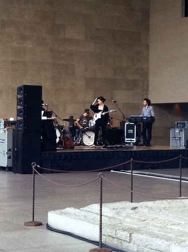 St. Vincent sound checking in the Temple of Dendur at The Met NYC - August 2011