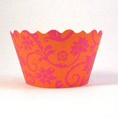 Orange and hot pink cupcake wrapper