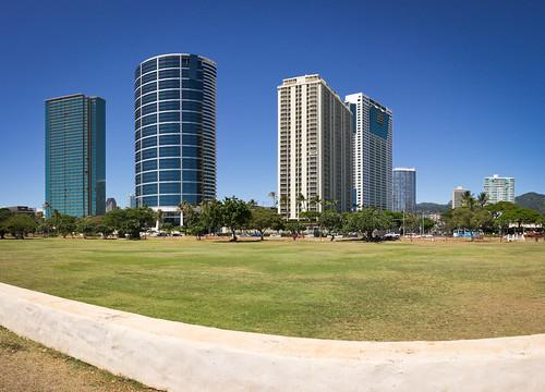 downtown Honolulu, O'ahu, Hawai'i (panorama)