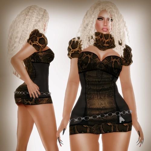 A&A Fashion Snake Dress Brown