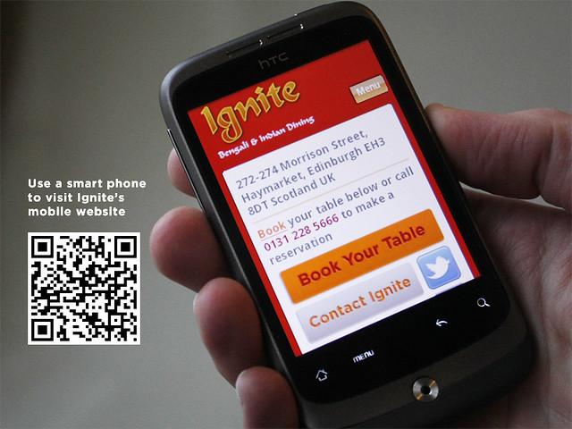 Mobile website for Ignite Restaurant, Edinburgh