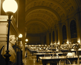 boston public library reading room sepia