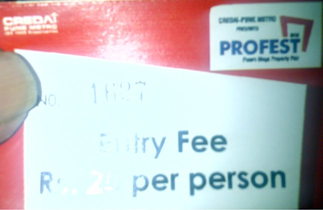 Entry Fee, Only, Rs. 25, per person, for PROFEST 2012 - Pune property exhibition!