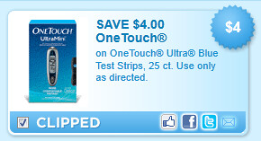 On Onetouch Ultra Blue Test Strips, 25 Ct. Use Only As Directed. Coupon