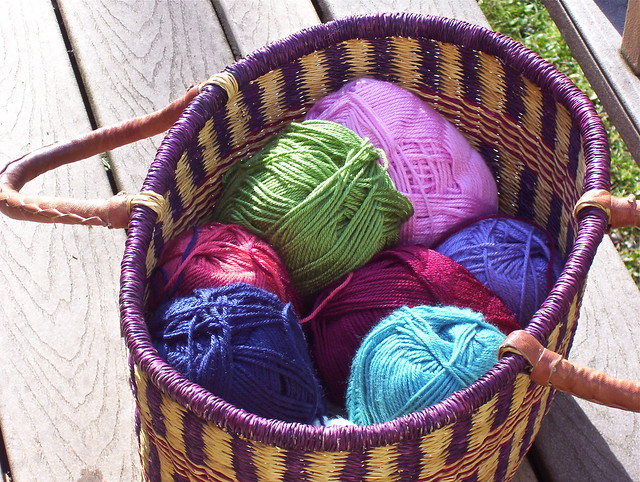 crochet project yarns in basket