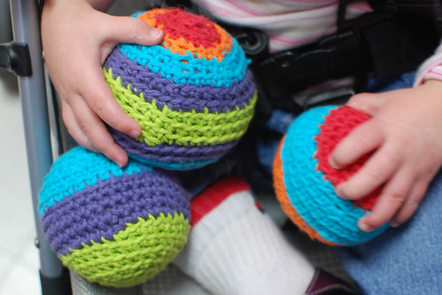 happy thing: three stripey crocheted balls