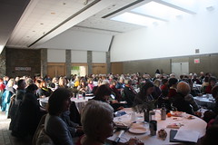 Gardening enthusiasts listen attentively to speakers Darrell Bley, Liz Hood and Sonia Day