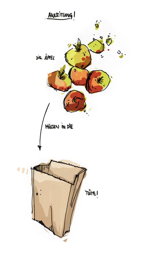 äpfel in die tüte