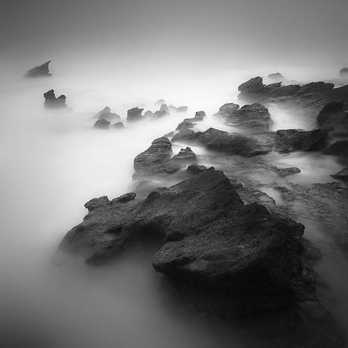 ocean sea water rock long exposure surreal serene liquid mystic