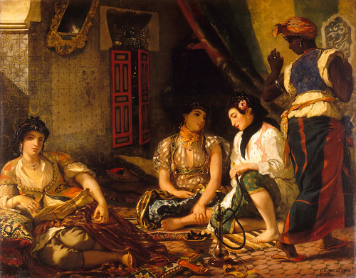 Delacroix's painting of three harem members and a servant