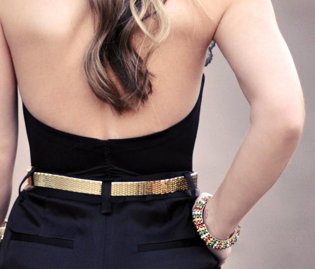 back - hair - gold belt - bracelet
