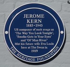 Photo of Jerome Kern and Eva Leale blue plaque