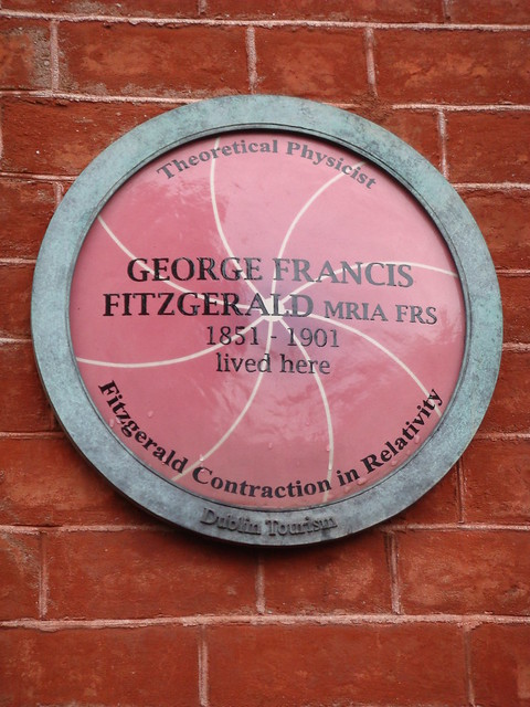 Photo of George Francis Fitzgerald purple, white and green plaque