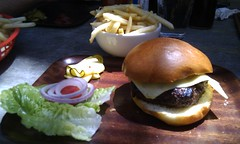 Wagyu burger with gruyere cheese and small fries -…