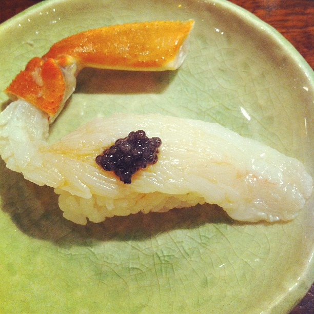 Snow crab with caviar at Gari omakase style with @gcsf!