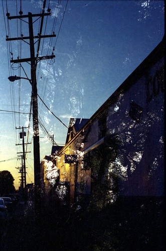 street trees sky color building film sunrise 50mm dawn power doubleexposure telephone powerlines poles nikonn80 kodakgold400 n80012212