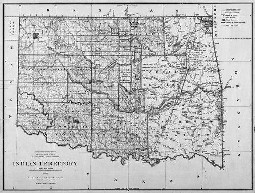 Map of Indian Territory (Oklahoma), 1885
