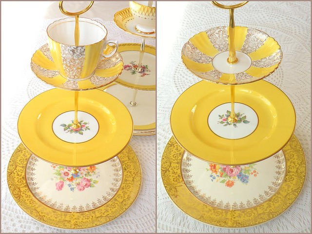 Yellow Cake Plate Hand Painted On Backside